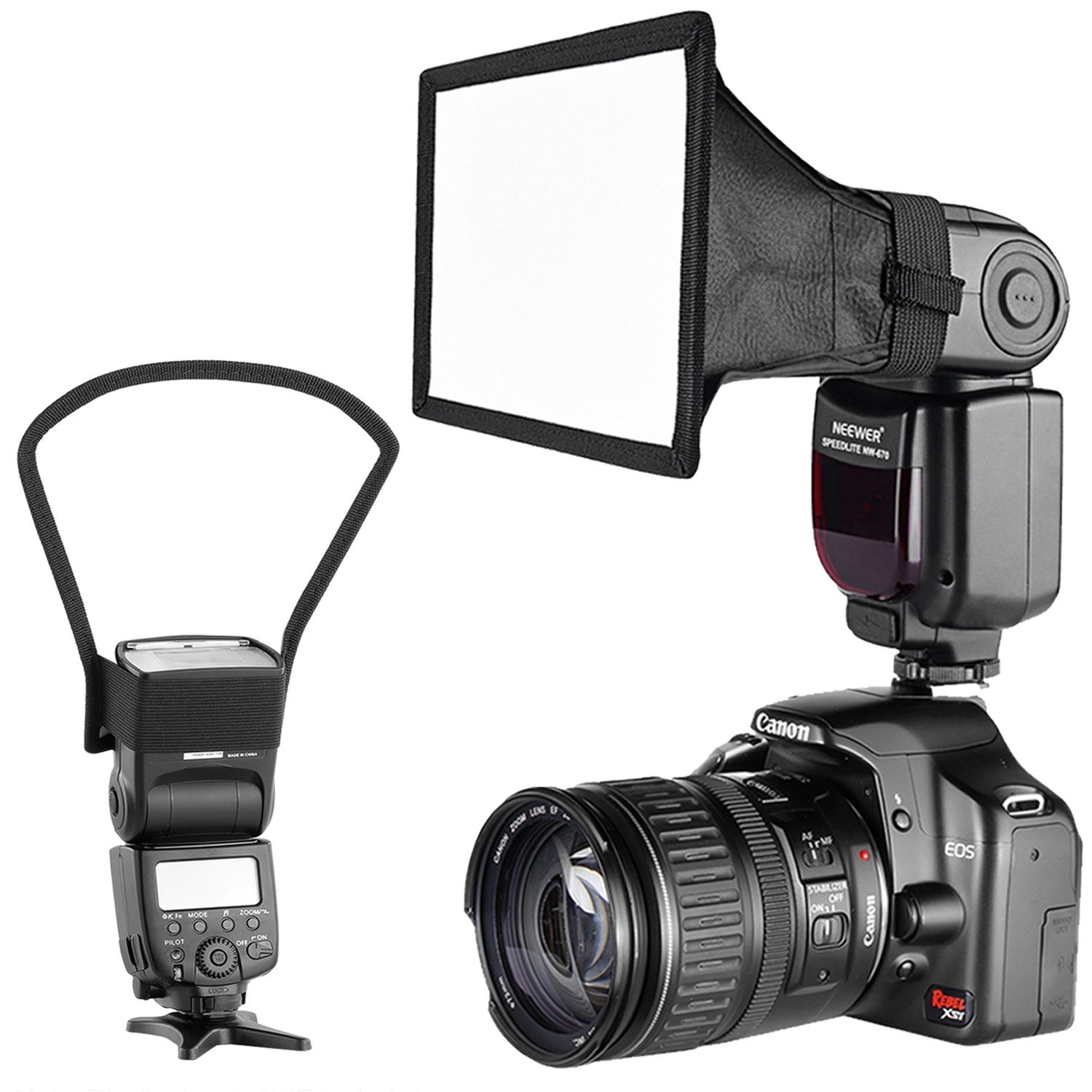 Neewer Camera Speedlite Flash Softbox and Reflector Diffuser Kit for Canon Nikon and Other DSLR Cameras Flashes, Neewer TT560 TT850 TT860 NW561 NW670 VK750II Flashes by Neewer