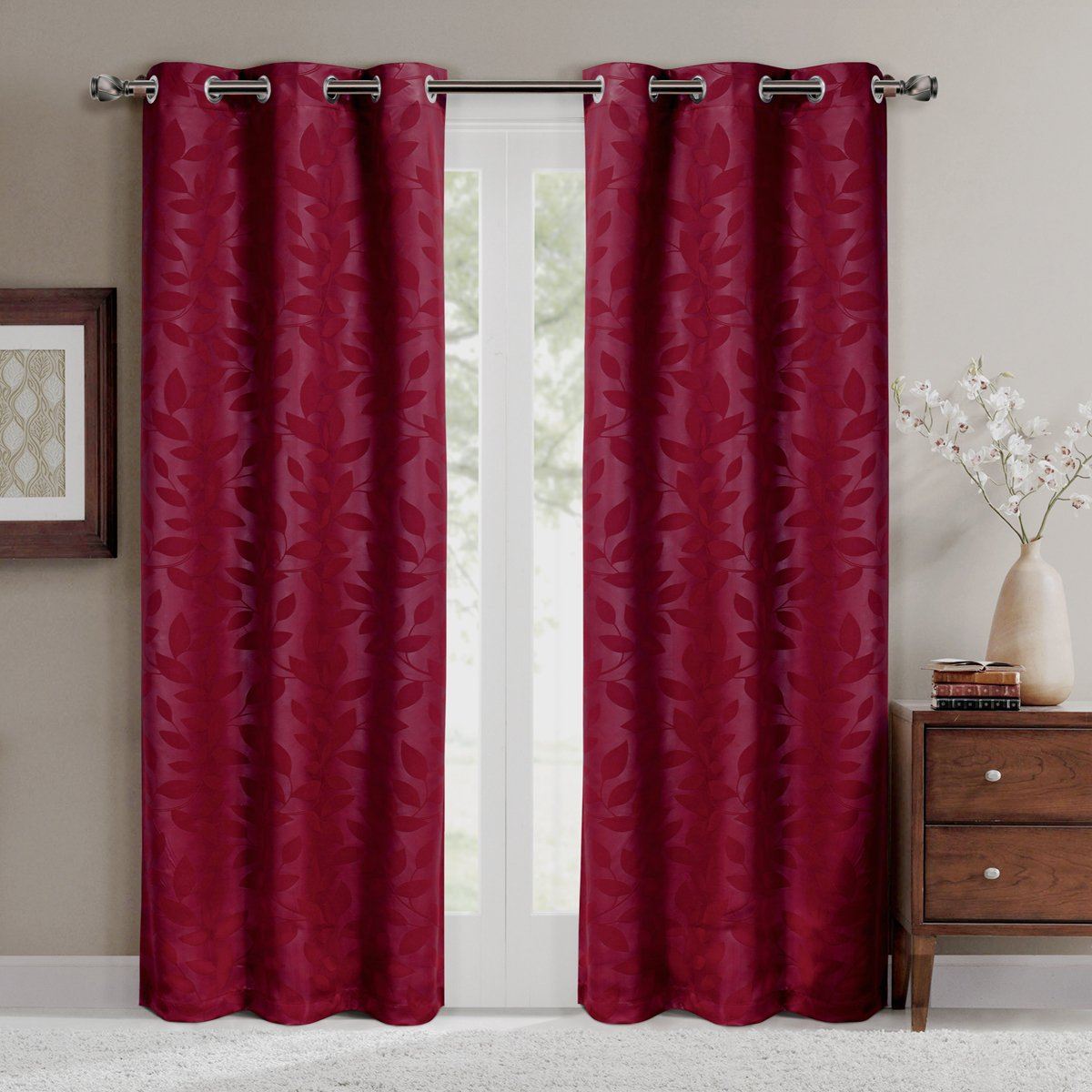 Virginia Burgundy Grommet Blackout Weave Embossed Window Curtain Panels