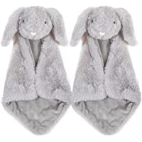 Baby Security Blanket - Giftset of 2 Small Gray Bunny Rabbit blankies with washbag, Soft Stuffed Plush Toy Blankie…