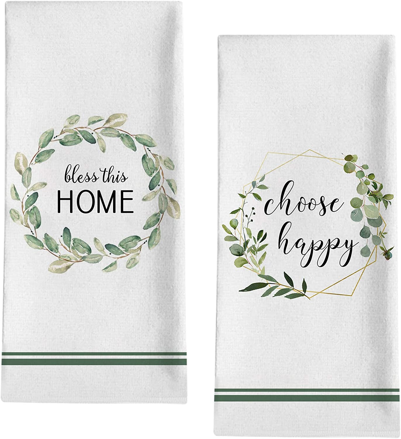 """Seliem Spring Summer Wreath Decorative Kitchen Dish Towel, Bless This Home Quote Bath Fingertip Towel Tea Bar Hand Drying Cloth, Choose Happy Olive Branch Decor Sign Home Farmhouse Decorations 18""""x28"""""""