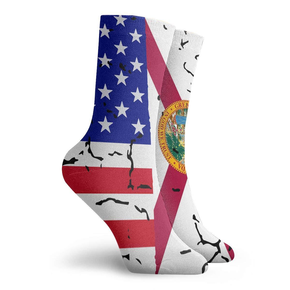 Adult USA Florida Flag Athletic Crew Socks