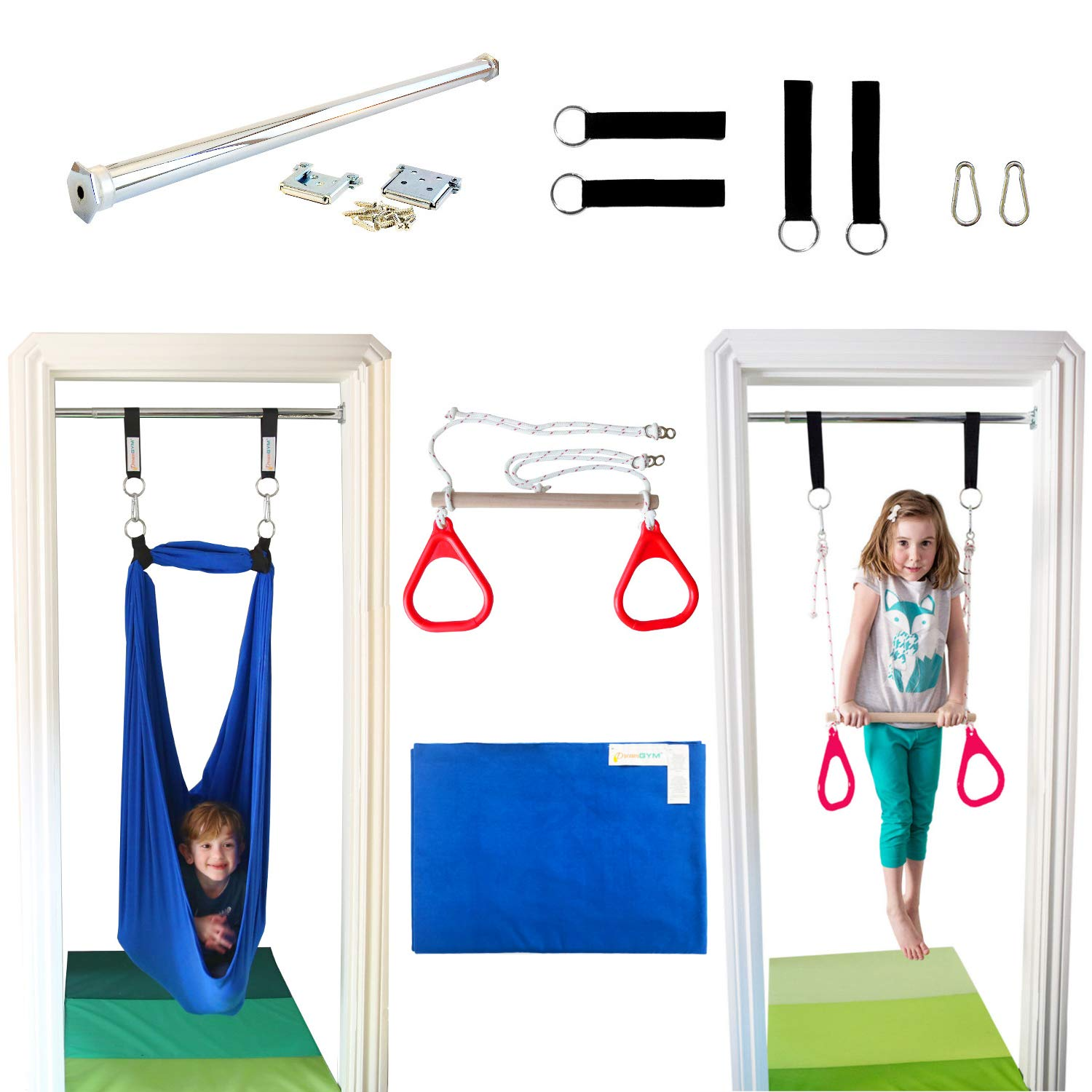 DreamGYM Indoor Swing Trapeze & Rings Combo and Therapy Sensory Swing by DreamGYM