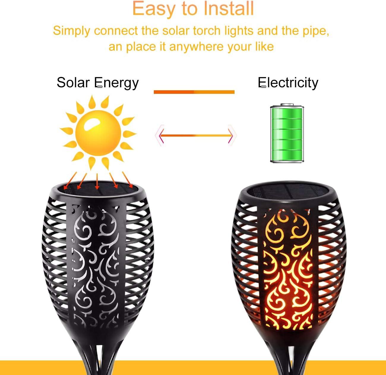 HAUSPROFI Solar Jard/ín Llamas antorchas 96 LED Solarleuchte jard/ín IP65 estanco Gartenleuchten Outdoor Solar Spotlight autom/ática de encendido//apagado 2 unidades Solar LED Solarlampe luz sensor