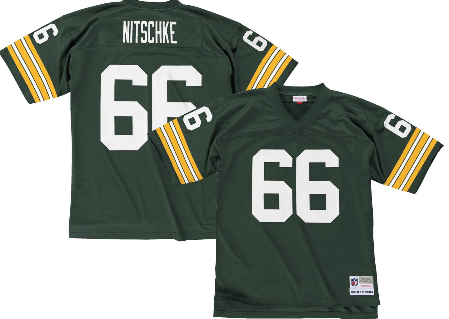 new product 7b976 39297 Mitchell & Ness Green Bay Packers Ray Nitschke 1966 Replica Jersey