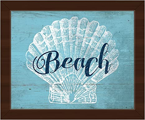 Amazon Com Shell Beach Ii Rustic Nautical Painting Of Scallop Shell For Beach House Wall Art Print On Canvas With Espresso Frame Posters Prints