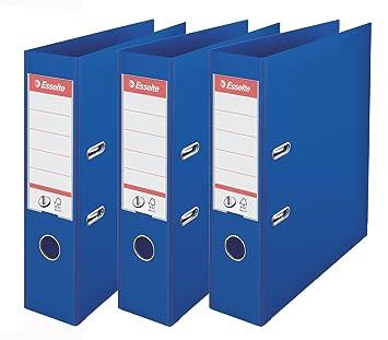 Esselte - Lote de 3 archivadores, color azul claro Lomo 75 mm: Amazon.es: Oficina y papelería