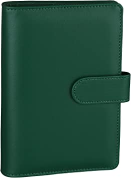 Antner A6 PU Leather Notebook Binder Refillable 6 Ring Binder for A6 Filler Paper, Loose Leaf Personal Planner Binder Cover with Magnetic Buckle Closure, Dark Green