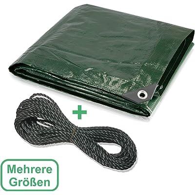 CoverUp! Lona Impermeable Exterior 2 x 3 m [120 g/m2] + Cuerda de 12 m, Lona de protección con Ojales para Muebles de jardín, Piscina, Coche, Lona de protección Impermeable y Resistente a la Rotura