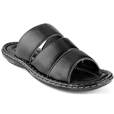 Men's Open Toe Sandals Top Grain Leather Soft Cushion Footbed Elegant Designs Black Brown Tan Sizes 7-13 | Sandals