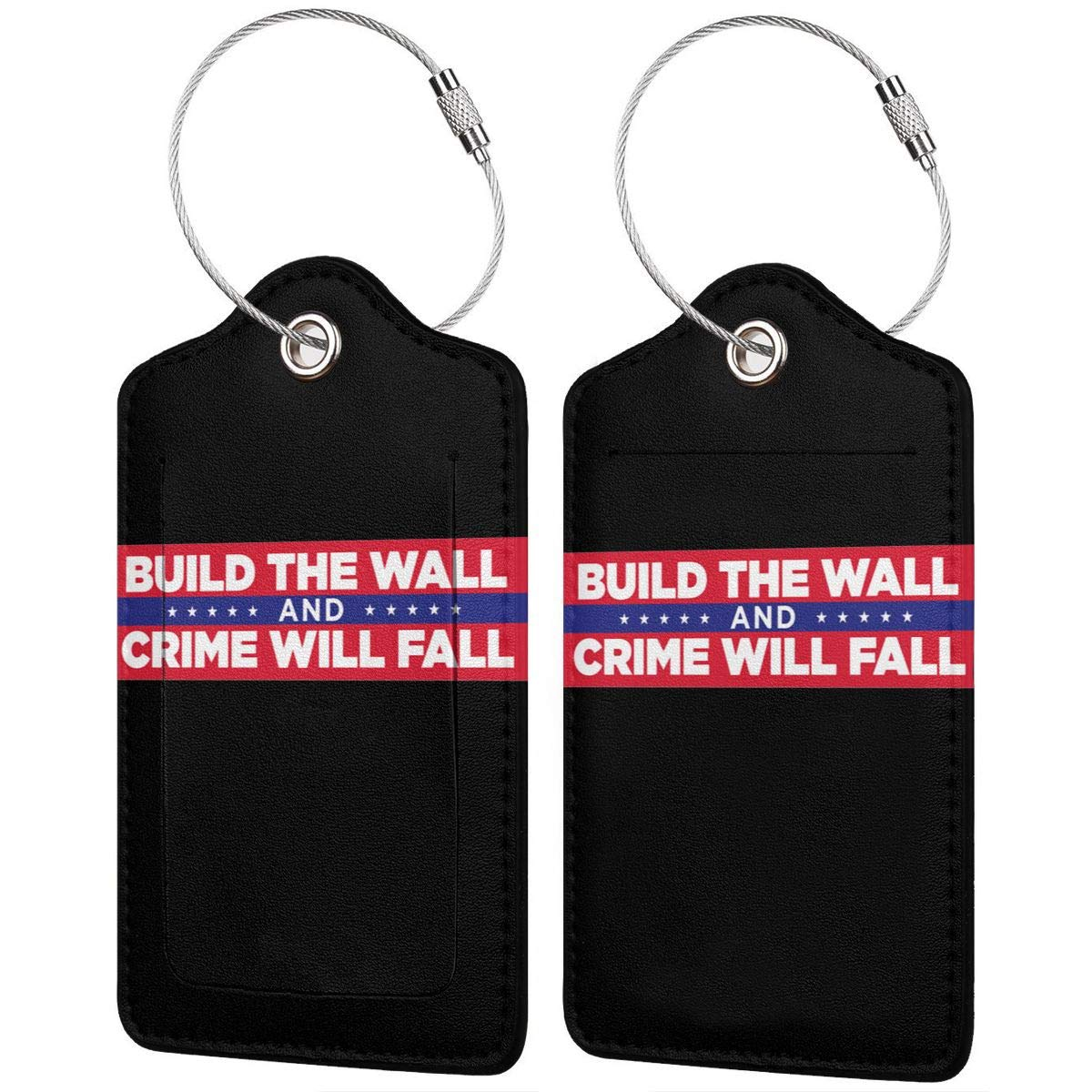 Build The Wall Trump Labels With Privacy Cover For Travel Bag Suitcase Travel Accessory Luggage ID Tag