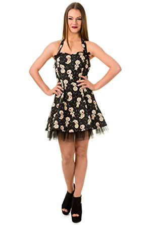 Banned Goth Voodoo Dolls Distractions Mini Party Prom Dress Uk Plus