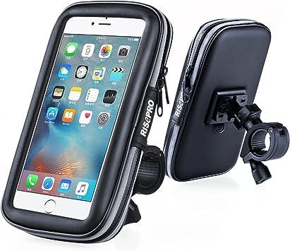 Risepro - Soporte de teléfono para bicicleta, universal, impermeable, para bicicleta y motocicleta, resistente a polvo, lluvia y nieve: Amazon.es: Deportes y aire libre