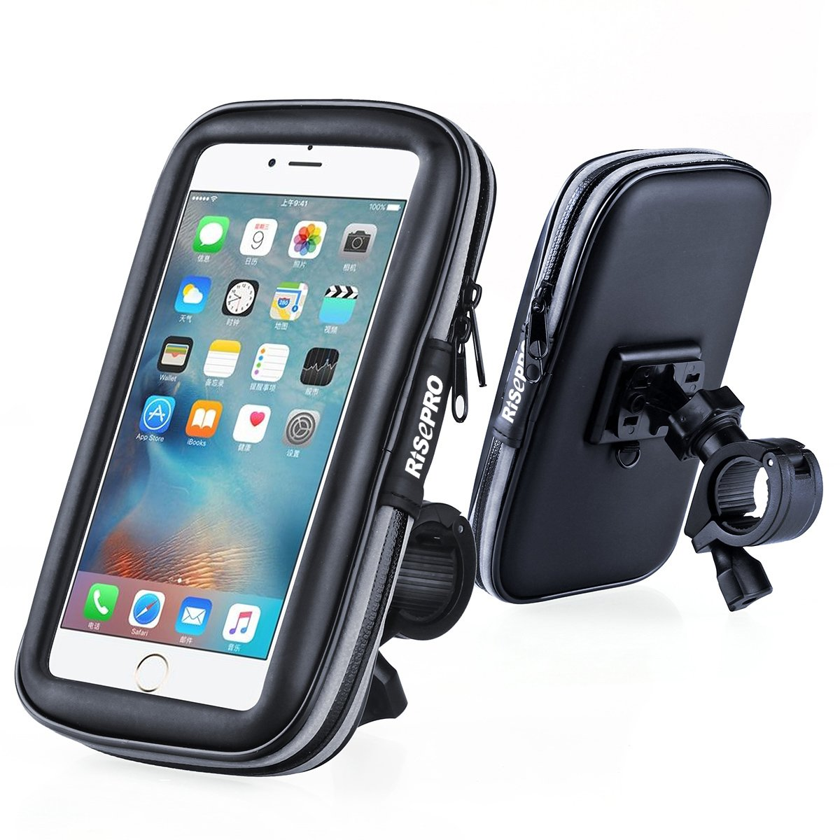 more photos 68a62 935fd Bike Phone Mount, RISEPRO Waterproof Universal Case Bicycle & Motorcycle  Phone Holder Mount Cradle Handlebar Rain Resistant for Smart Phone 5.7' ...
