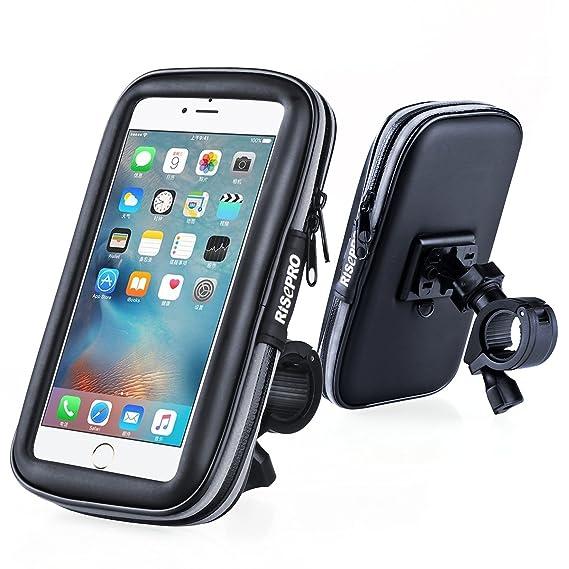 more photos 29694 ac607 Bike Phone Mount, RISEPRO Waterproof Universal Case Bicycle & Motorcycle  Phone Holder Mount Cradle Handlebar Rain Resistant for Smart Phone 5.7' ...