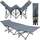 Lit de camp pliable de AMANKA portable avec sac incl idéal pour faire du camping voyager se bronzer structure en acier 190x70cm 10 pieds Gris