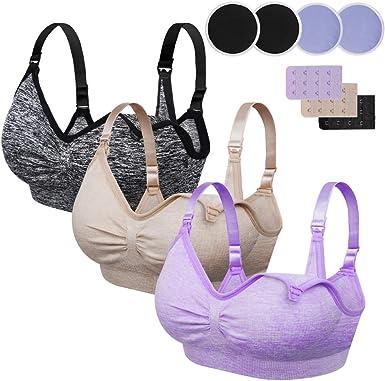 CLOUSPO Nursing Bra 2//4 Pack Women Seamless Maternity Bra Removable Paded Sleep Comfortable for Breastfeeding with Free Bra Extenders