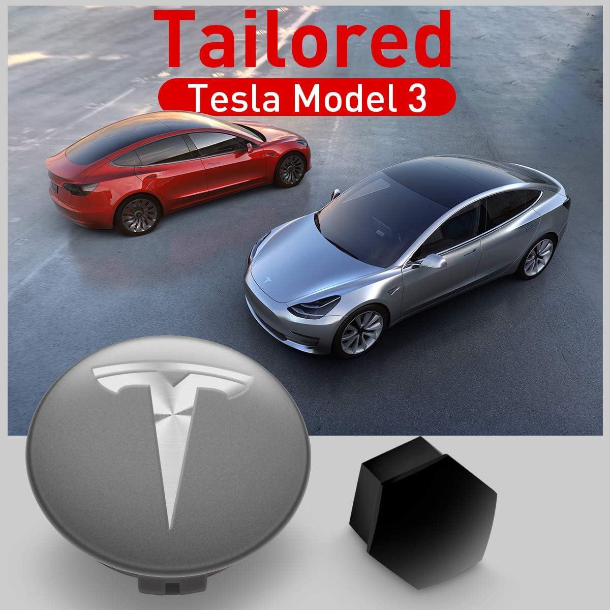 Kfzman Model 3 Radkappe Kit Radnabenabdeckung Kit Mit Logo Für Tesla Model 3 2017 2021 Chrom 25stücke Auto