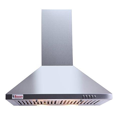 Seavy 60 cm 1100 m3/hr Chimney (Acura SS 60, 2 Baffle Filters, Steel/Grey)