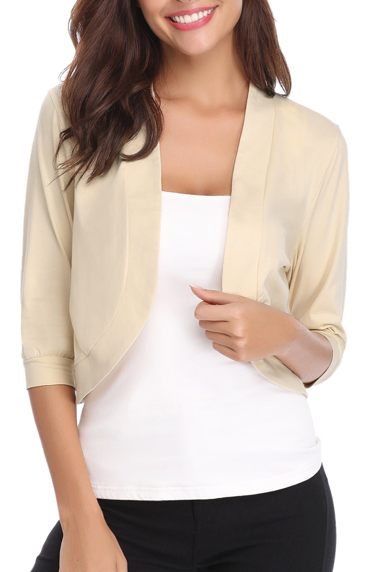 iClosam Women Open Front Cardigan 3/4 Sleeve Cropped Bolero Shrug