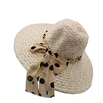 Sun Hats Summer Hats for Women Wide Brim Floppy Summer Beach Straw Hat with  Bownot Chain 4fe90be1563