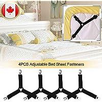 Elastic Adjustable Bed Sheet Fasteners Suspenders Holder Clip Straps Triangle Mattress Pad Cover Bed Sheet Corner Holder 4 Pack Billlisa