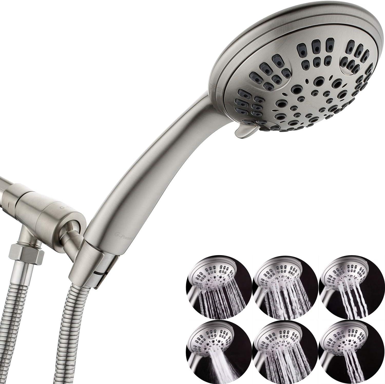 G-Promise High-Pressure Shower Head Premium 6 Spray Setting Handheld Showerhead