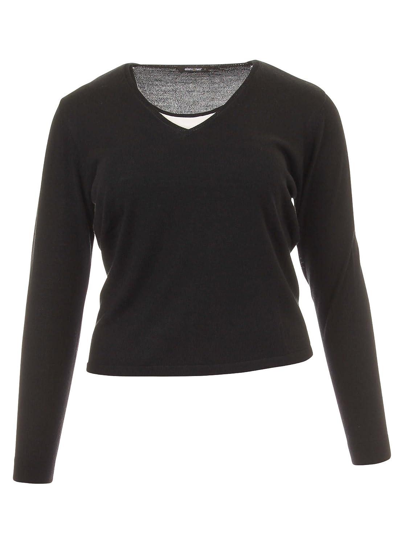Pullover im Lagen-Look in schwarz/weiß in Übergrößen (L, M, XL, XXL) von Elena Miro