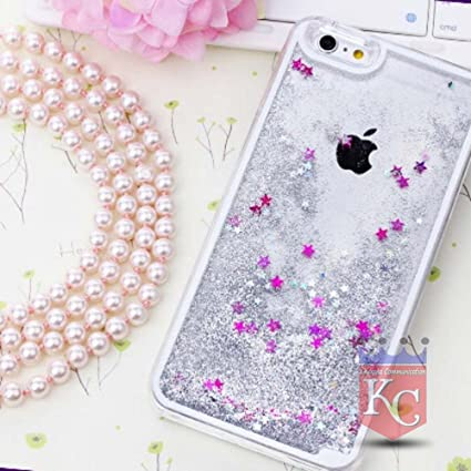 new style a4a33 2bf19 KC Liquid 3D Bling Glitter Star Hard Transparent Back Cover for iPhone 5,  iPhone 5s & iPhone SE (Silver)
