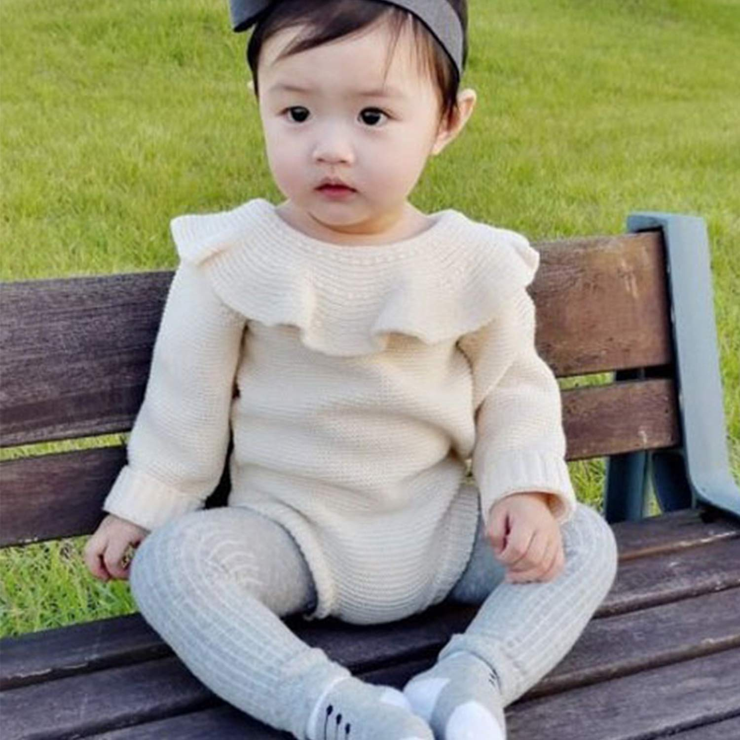 De feuilles Toddler Baby Girls Long Sleeve Knitted Sweater Romper Ruffle Bodysuit Jumpsuit