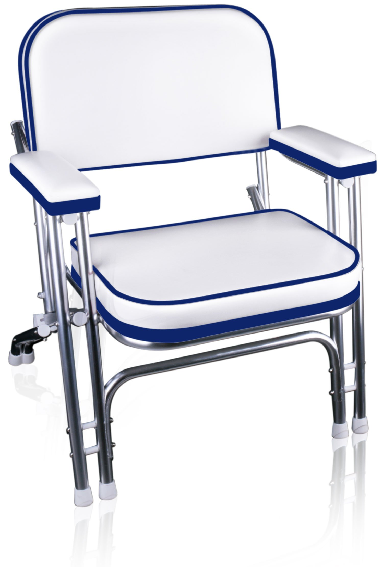 Leader Accessories Portable Folding Deck Chair with Aluminum Frame and Armrests(White/Blue) by Leader Accessories