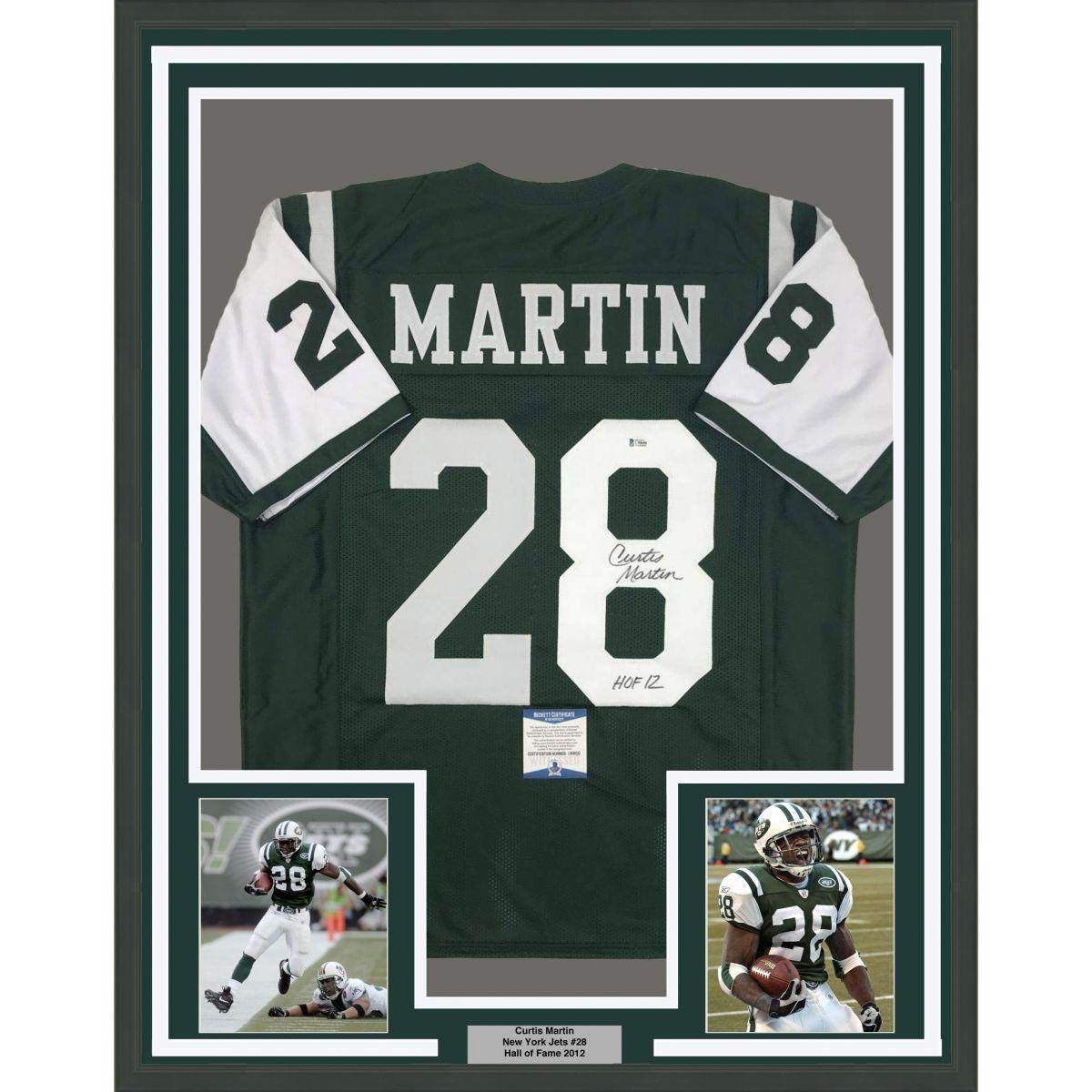 New Curtis Martin Signed Jersey FRAMED 33x42 HOF 12 NY Green Beckett
