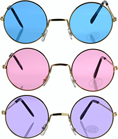 Pink Lennon Glasses 60s Fancy Dress Costume Party Adult Accessory