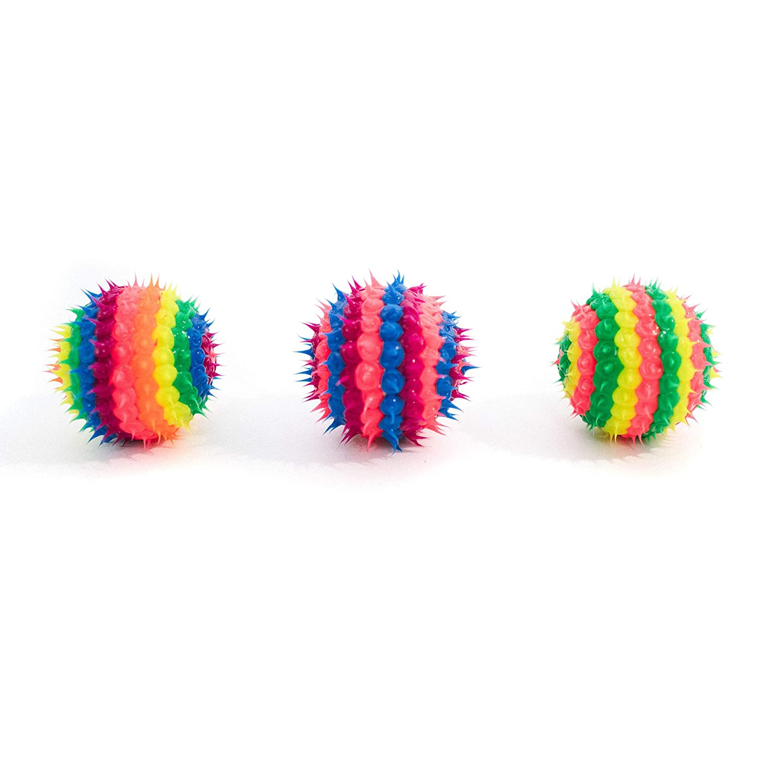 3PCS-Girls-1.5 Stocking Stuffers Toy Gifts for Holidays Great Party Favors ADD Anxiety Treat Bag Fillers Fidget Toy for ADHD Bouncy Hand Balls for Kids with Multicolored Soft Spikes