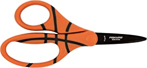 Fiskars 134302-1002 Non-Stick MVP Kids Scissors Pointed-Tip, 5 Inch, Basketball