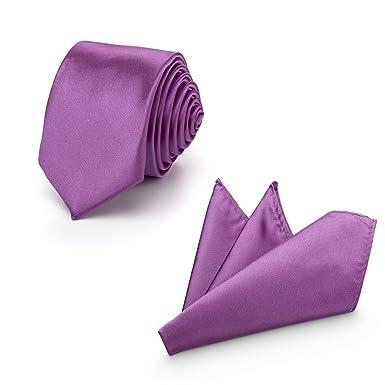 31d88b0ff64c Rusty Bob - Herren-Krawatte mit Einstecktuch + Fliege - erhältlich in  verschiedenen Farben - zum Anzug, zur Taufe, Hochzeits-Set - 3-teilig -  Amethyst  ...