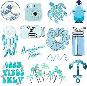 Hrayipt Vsco Water Bottle Laptop Stickers Packs, Big 50 Pcs, Waterproof Trendy Aesthetic Blue Vinyl Cute Stickers Pack for Teens Phone Luggage, Car