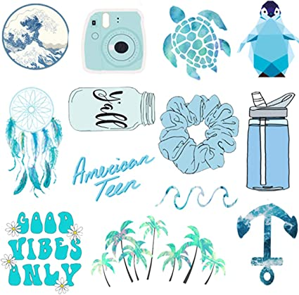 Amazon Com Hrayipt Vsco Water Bottle Laptop Stickers Packs Big 50 Pcs Waterproof Trendy Aesthetic Blue Vinyl Cute Stickers Pack For Teens Phone Luggage Car Toys Games