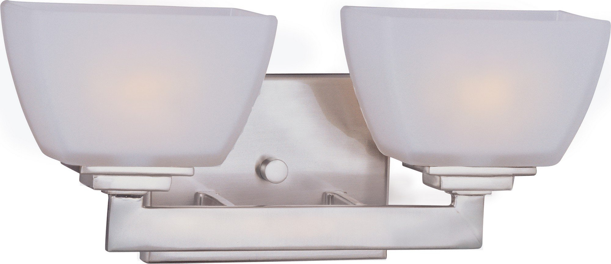 Maxim 9032SWSN Angle 2-Light Bath Vanity Wall Sconce, Satin Nickel Finish, Satin White Glass, G9 Frost Xenon Xenon Bulb , 100W Max., Damp Safety Rating, 2700K Color Temp, Standard Dimmable, Glass Shade Material, 1150 Rated Lumens