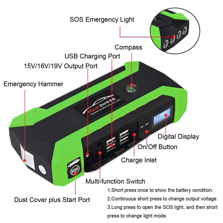 Arrancador Baterias Coche Linterna LED hasta 6.0L en Gas o 4.0L en Diesel Puertos de Carga 4 USB Arrancador de Coche 89800mAh 600A Jump Starter con Pinzas Inteligentes