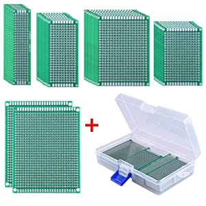AUSTOR 36 Pcs Double Sided PCB Board Prototype Kit 5 Sizes Universal Printed Circuit Protoboard with Free Box for DIY Soldering and Electronic Project