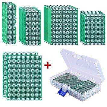 AUSTOR 36 Piezas Prototipo de doble cara Placa PCB (5 tamaños) con Caja Libre para Soldadura Bricolaje y Proyecto Electrónico: Amazon.es: Electrónica