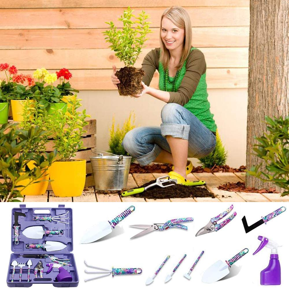 10 Pieces Gardening Tools with Purple Floral Print Garden Hand Tools with Carrying Case Gardening Gifts for Women PiscatorZone Garden Tools Set