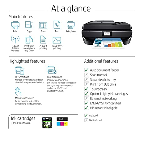 HP OfficeJet 5255 Wireless All-in-One Printer (M2U75A), Black, One Size
