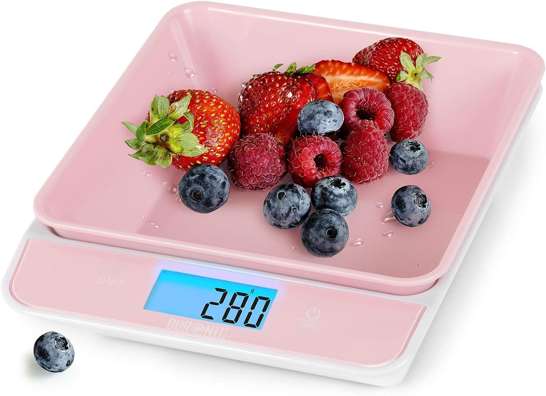 Duronic Kitchen Scale KS100RD 5 KG / 11 LB Pink Portable Design Digital Display Tray/Bowl Kitchen Scale (Pink) Capacity: 5kg / 11lb