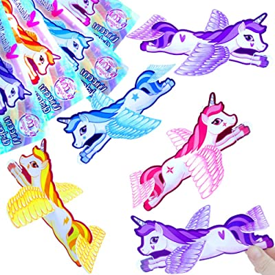German Trendseller® - 12 x planeurs de licorne┃objets volants┃l'arc en ciel ┃décoration chambre d'enfants┃ petit cadeau┃ l'anniversaire d'enfant┃idée cadeau┃ bricoler et flotter