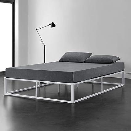 [en.casa] Cama de Metal 140cm x 200cm Estructura Estable con Somier Plataforma de Base Resistente Blanco