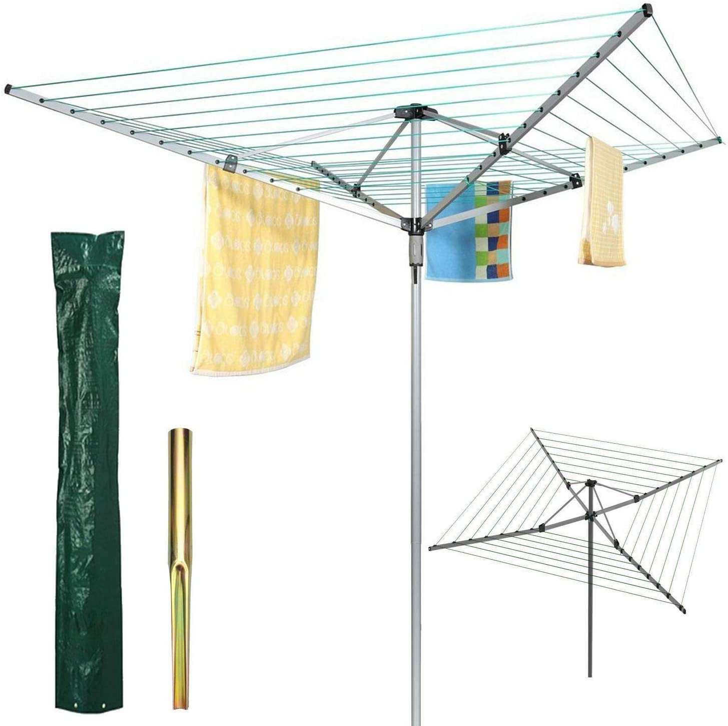 CruiseTech/® NEW ROTARY GARDEN WASHING LINE CLOTHES AIRER DRYER GROUND SOCKET SPIKE 30M
