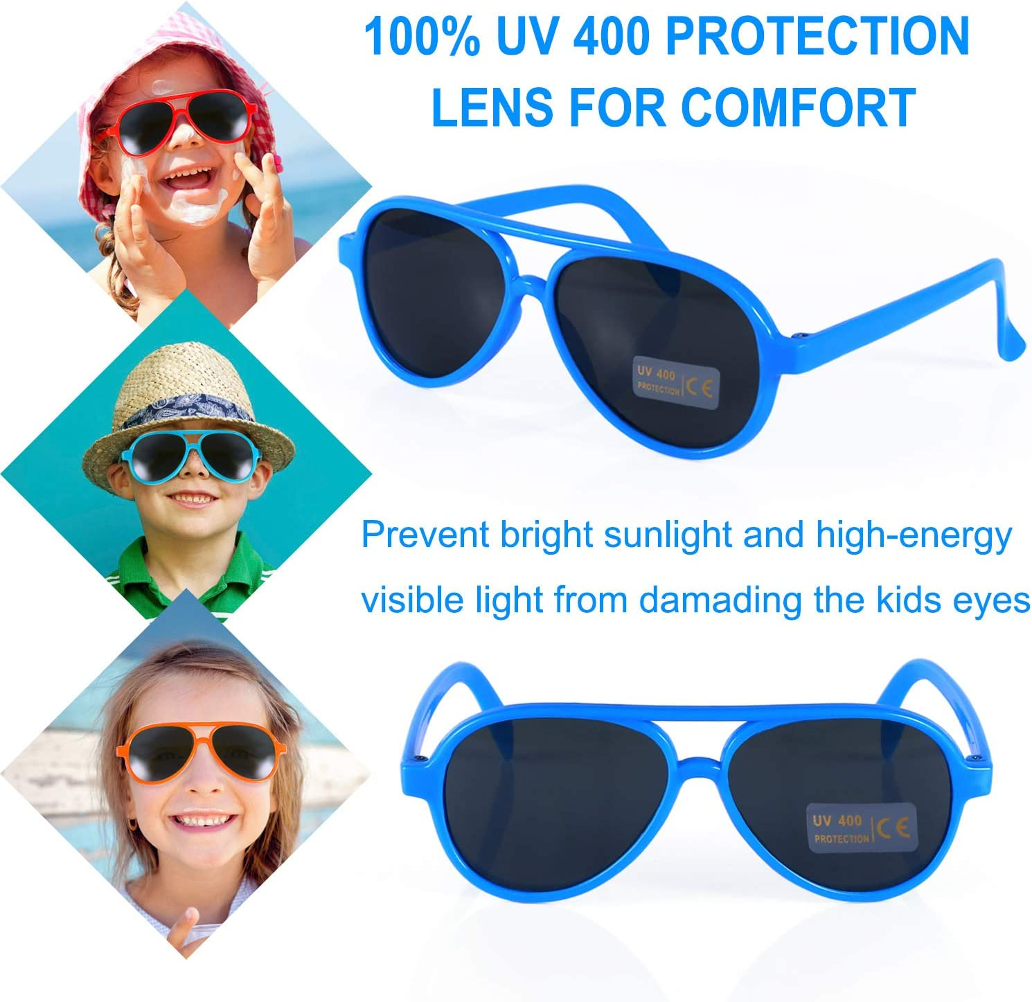 Beach Party Toys Goody Bag Stuffers Kids Sunglasses Party Favors Fun Gift for Children Birthday /& Graduation Party Supplies Aviator Sunglasses in Bulk 24 Pack for Kids Pool Party Favors