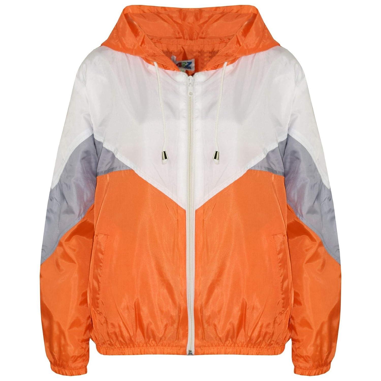 Kids Girls Boys Windbreaker Jackets Orange Panelled Hooded Raincoats Age 5-13 Yr