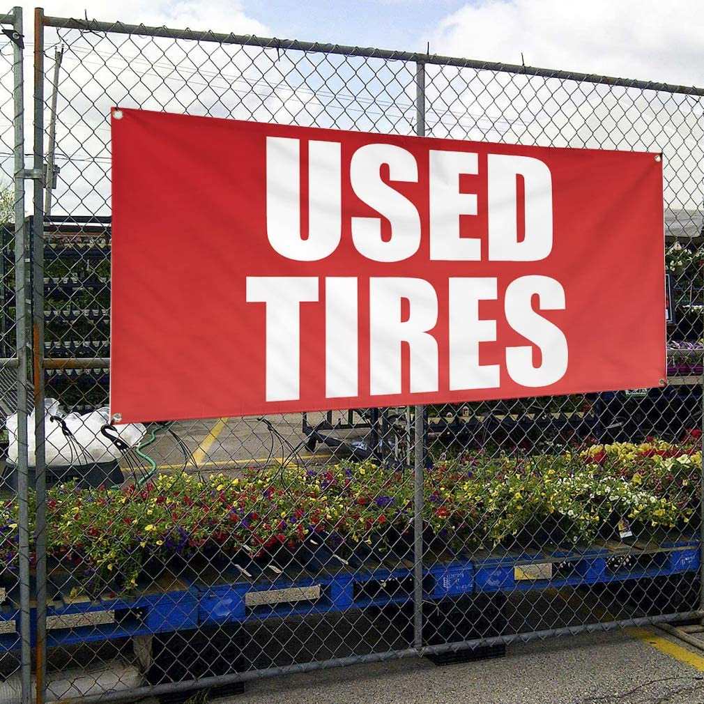Vinyl Banner Multiple Sizes Used Tires Auto Car Vehicle D Automotive Outdoor Weatherproof Industrial Yard Signs Red 10 Grommets 60x144Inches
